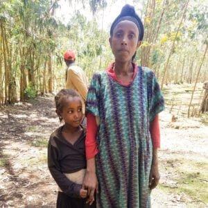 Amarech with one of her children