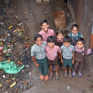 Smiling Dalit school children
