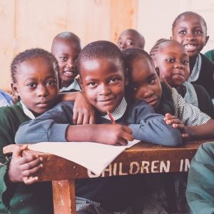 Kenyan children learning at school