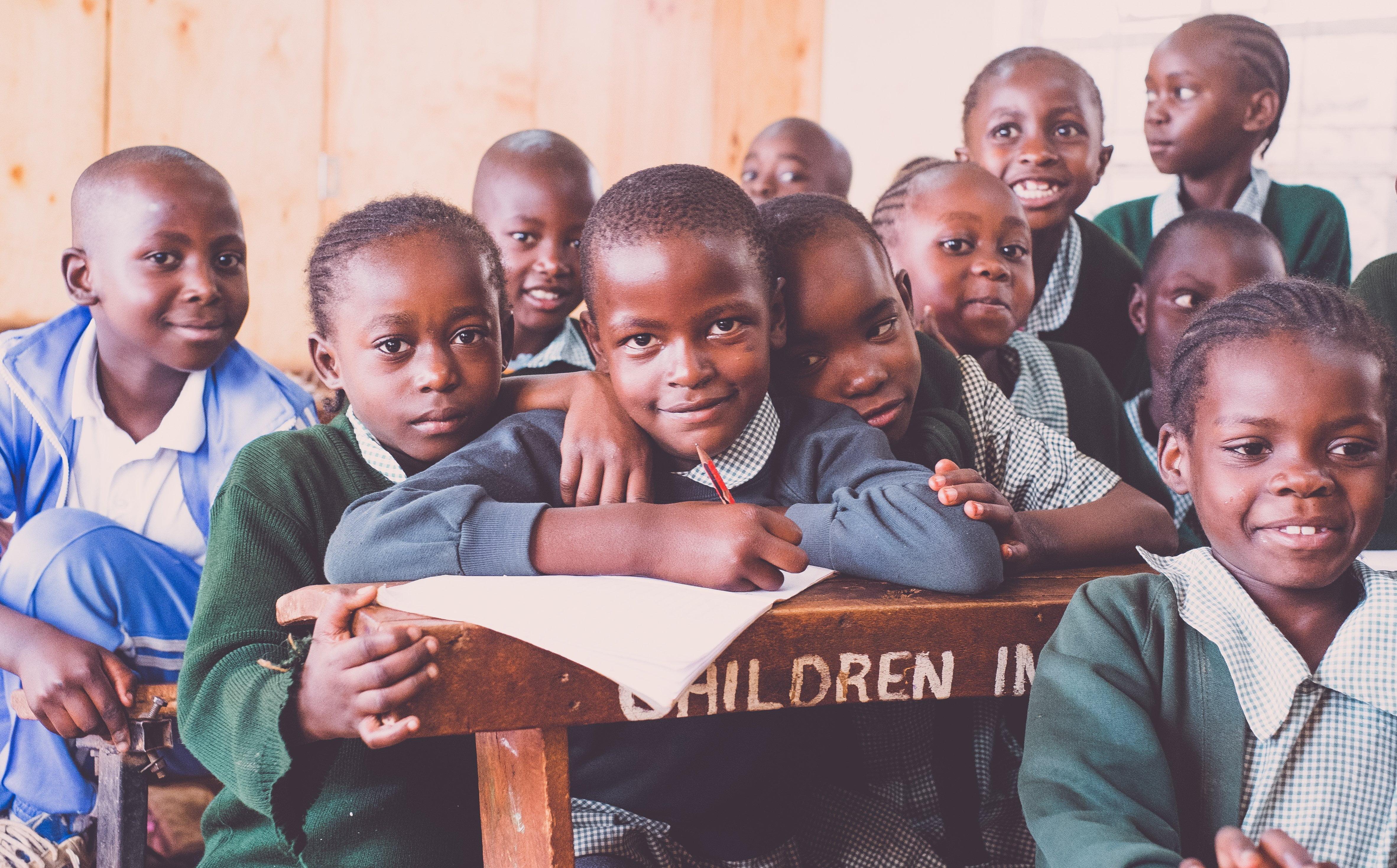 Kenyan children learning at school