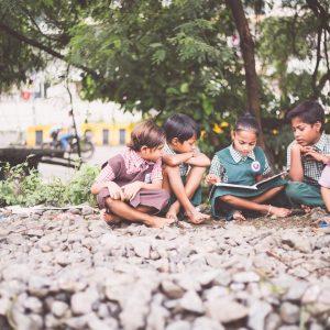 Dalit schoolchildren studying in the slum