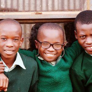 Three school friends in Kenya