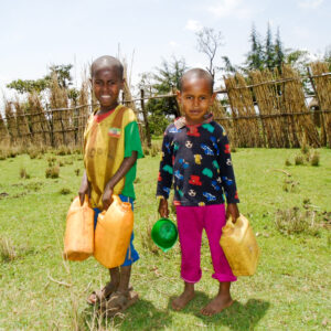 Ethiopian children fetching water