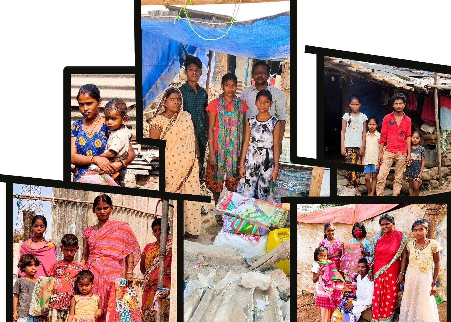 Patripul families outside their shacks