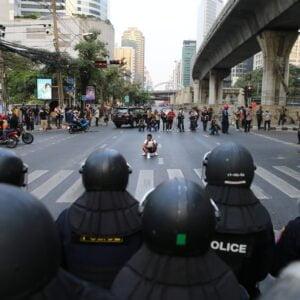 standoff between civilian demonstrators and police in bangkok