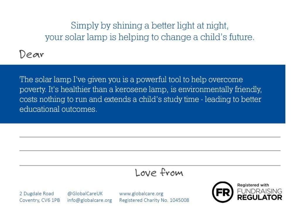 Solar Lamp postcard back